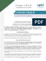 COMMUNIQUÉ - UPLD - La Démocratie Perte de Temps