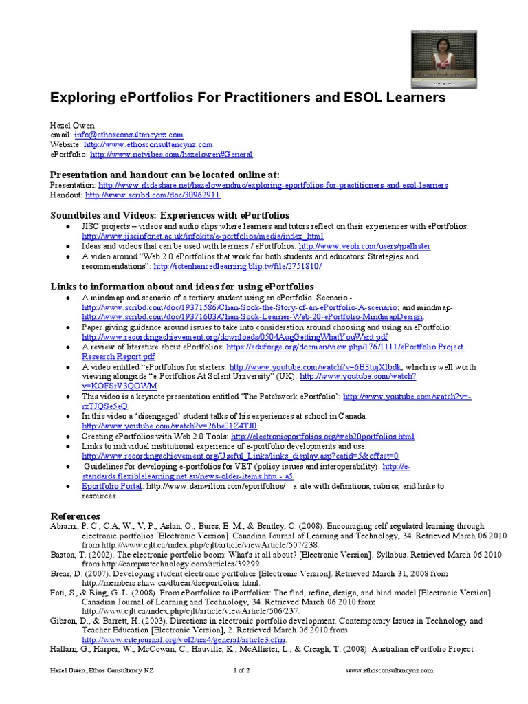 exploring eportfolios for practitioners and esol learners (handout, Powerpoint templates