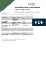 Calendario de Evaluaciones de Lectura Complementaria 5 Basico Lenguaje