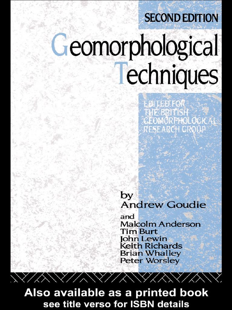 Livro geomorphological techniques geomorphology scientific method fandeluxe