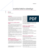 Certificat Médical Initial en Odontologie