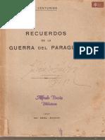 Recuerdos de la Guerra del Paraguay del Mayor Gaspar Centurión Asunción año de publicación 1931