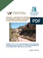 ANÁLISIS Y CONTRASTE DE METODOLOGÍAS PARA LA VALORACIÓN DEL IMPACTO DE LA EXTRACCIÓN DE AGUA EN ACUÍFEROS COSTEROS SALOBRES. APLICACIÓN AL ACUÍFERO DE CABO ROIG (ALICANTE).