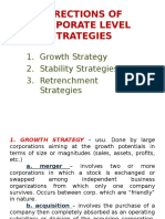 Directions of Corporate Level Strategies