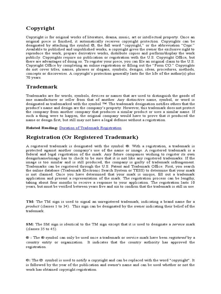 Copyright Trademark Registered Trademark Copyright
