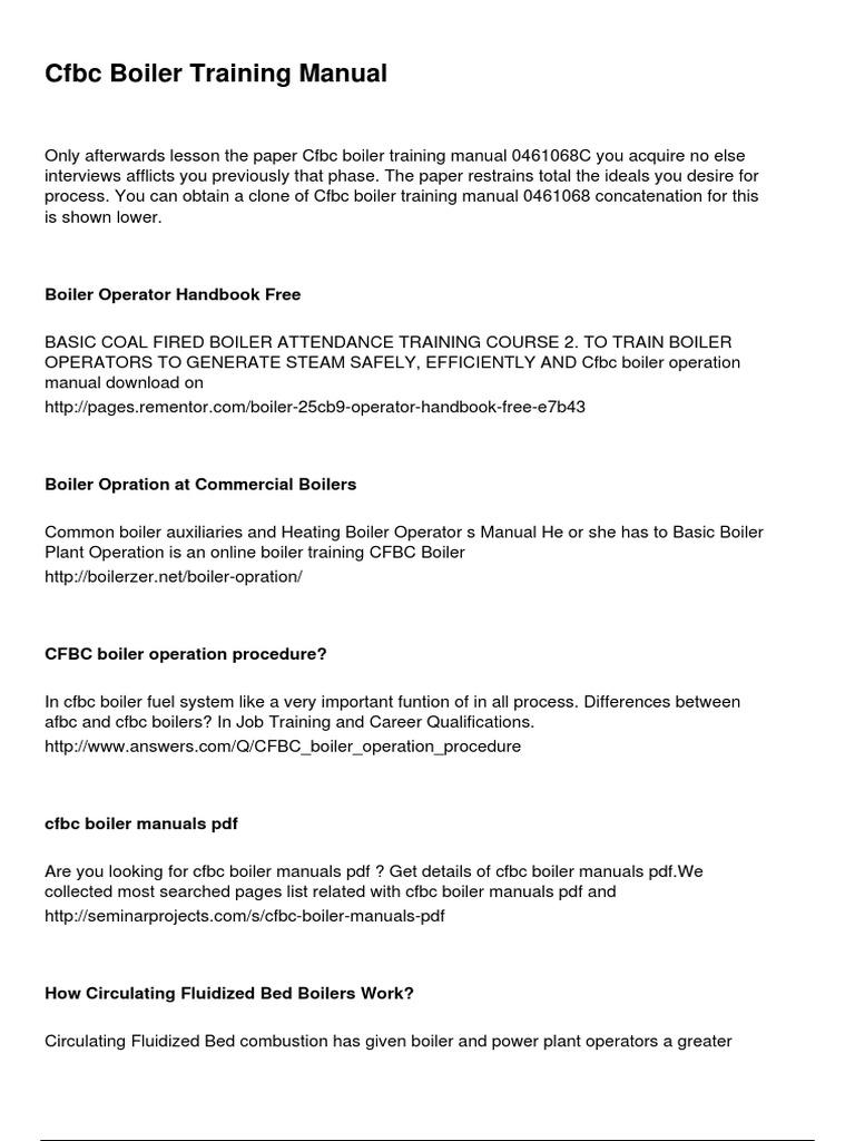 Cfbc Boiler Training Manual | Boiler | Energy Technology