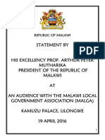 President Mutharika's Statement during an Audience with Malawi Local Government Association (MALGA) Leaders on April 19 2016 at the Kamuzu Palace