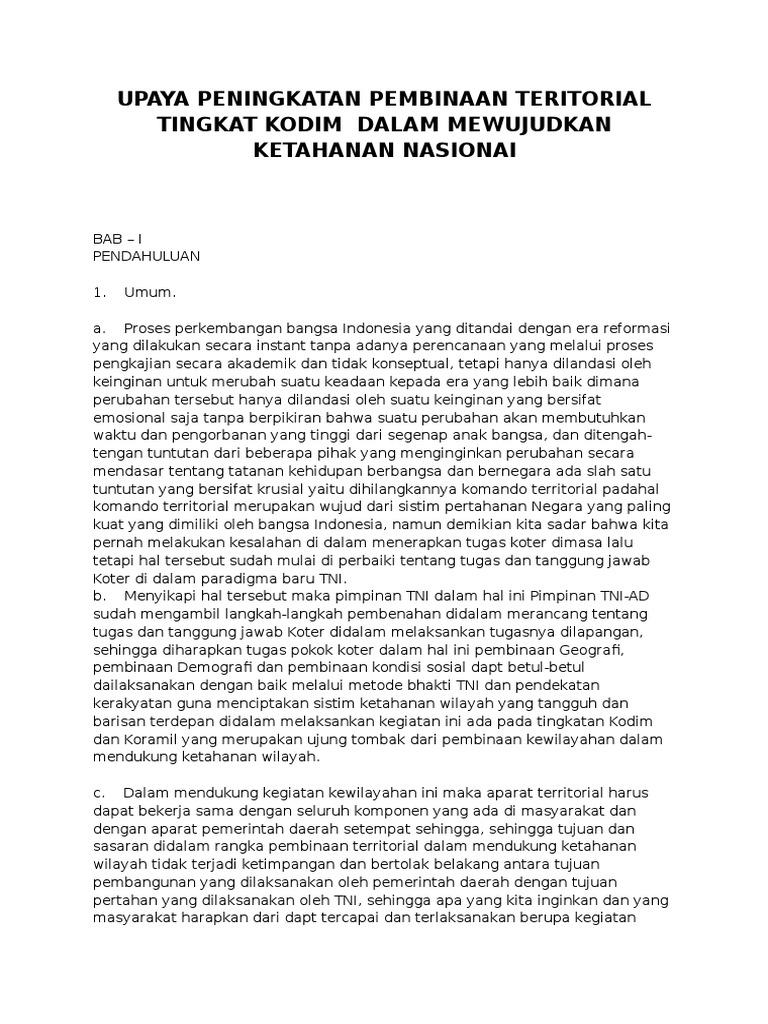 essay tentang upaya pembinaan teritorial