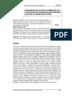 Redução Na Dosagem de Sulfato de Alumínio Na Eta Com a Utilização Do Sistema de Recuperação de Agua de Lavagem Dos Filtros