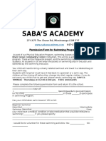 Sabas Academy Swimming Consent Form