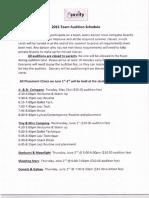 Team Audition Schedule 2016