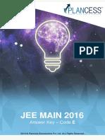 JEE Main Answer Key 2016 Code E Plancess