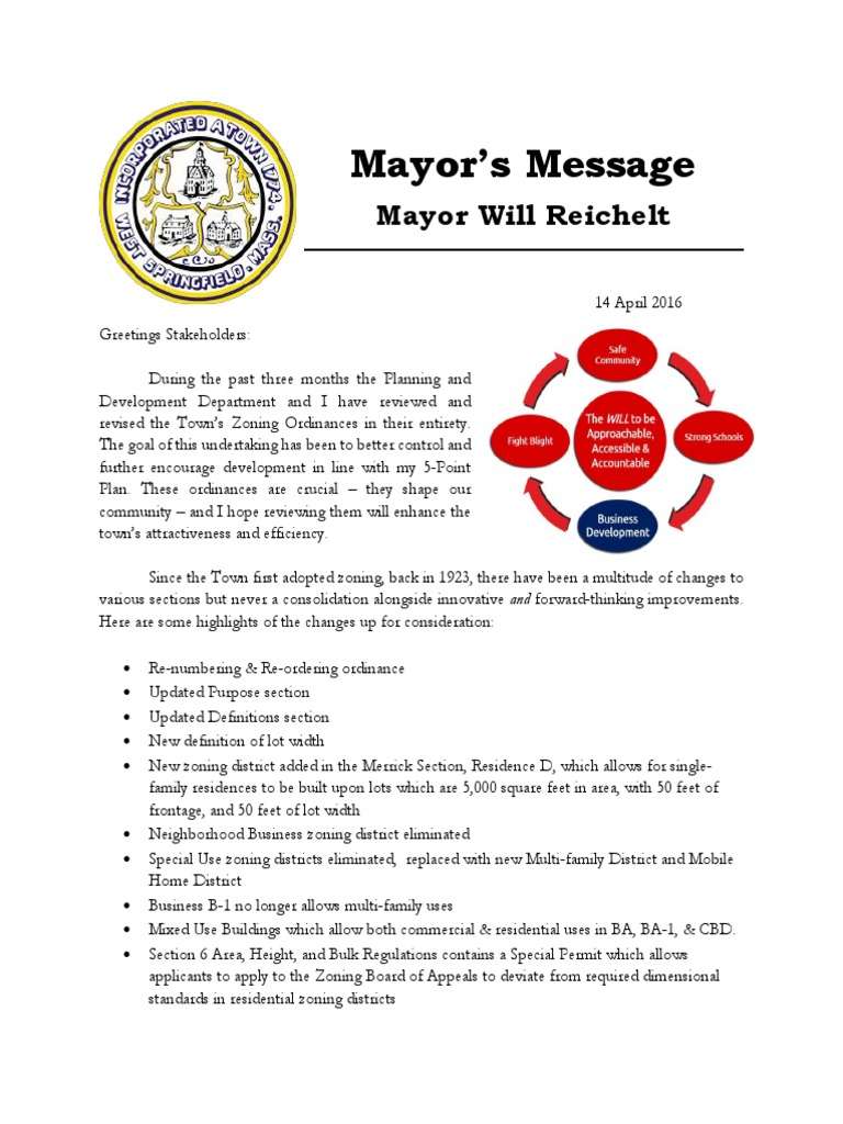 Town Of West Springfield Draft Zoning Ordinance 14 April 2016