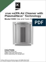 Winix 5300 Plasmawave Air Cleaner Owners Manual