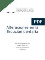 Alteraciones en La Erupción Dentaria