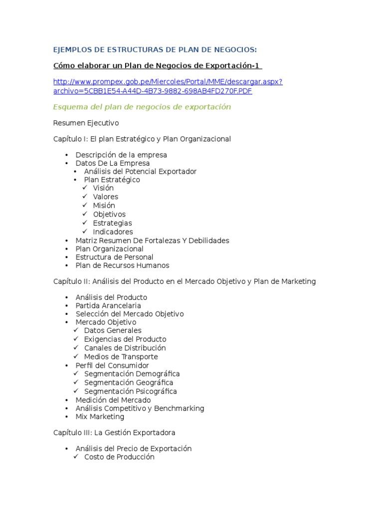 ejemplos de estructuras de plan de negocios