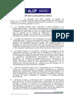 Pronunciamiento de la Asociación Latinoamericana de Organizaciones de Promoción al Desarrollo Ante La Crisis Política en Brasil