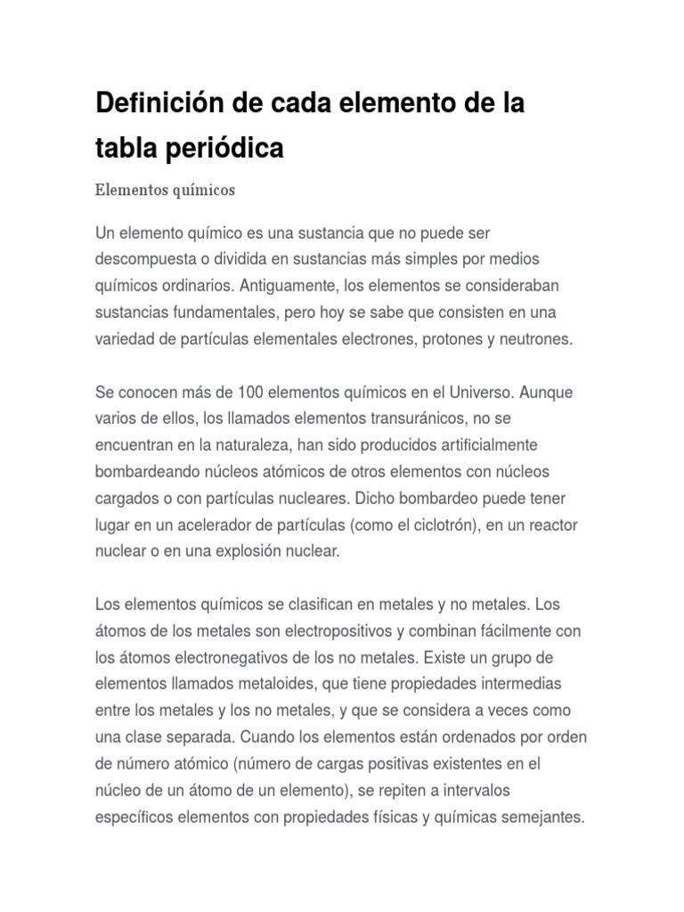 Definicin de cada elemento de la tabla peridica urtaz Gallery