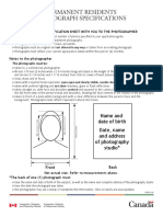 Photography Format for Imigration Canada