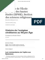 Histoire de l'Exégèse Chrétienne Au Moyen Âge