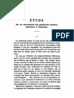 Etude Sur Les Mouvements de Populations Berberes Anterieurs a l'Islamisation