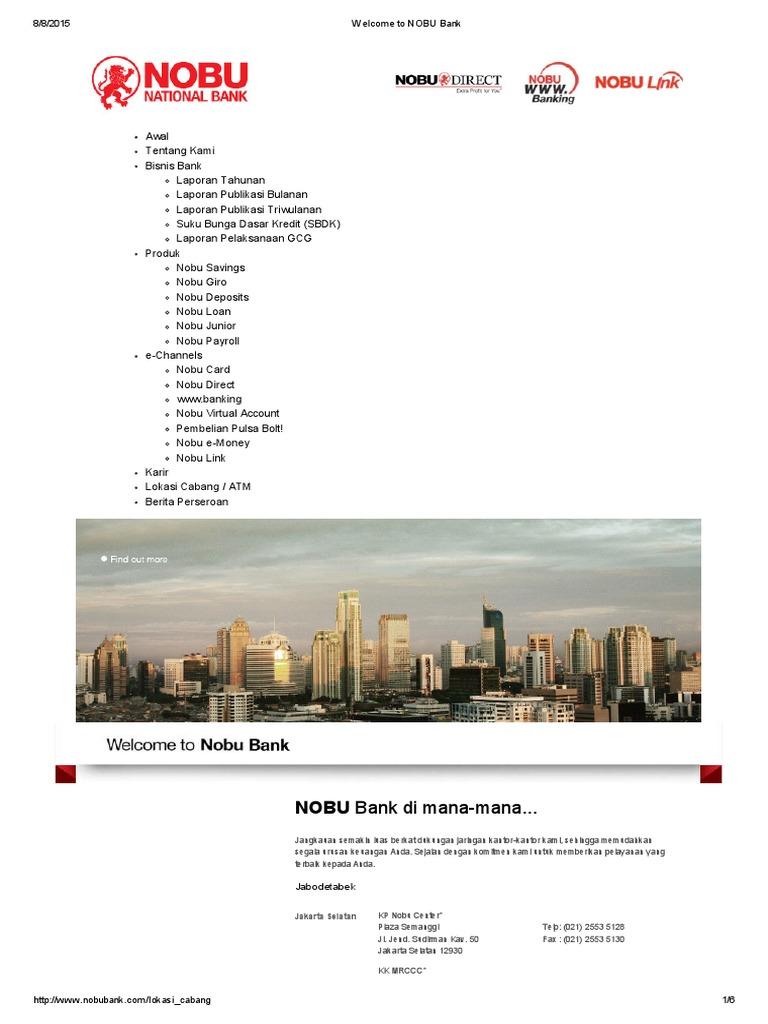 Welcome to NOBU Bank Cabang