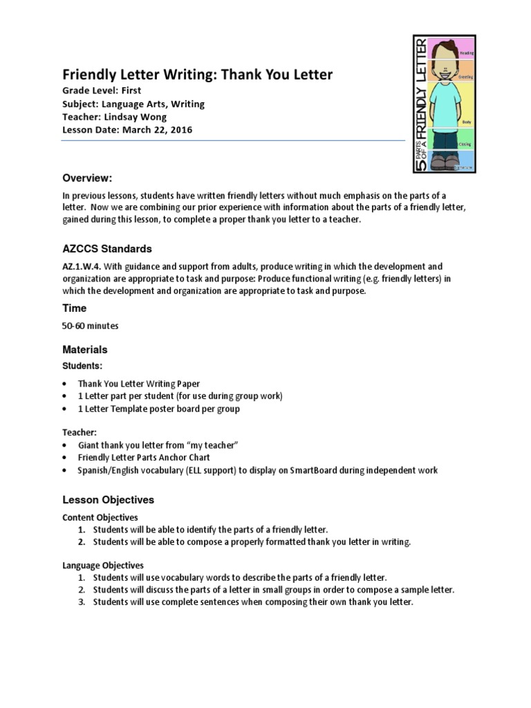 observation 5 lesson plan writing thank you letter mar 22