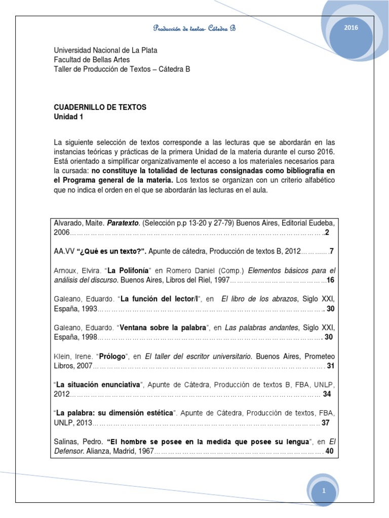Cuadernillo de Textos. Unidad 1UV