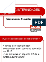 Acceso a interinidades docentes en Castilla y León 2010 - CCOO INFORMA