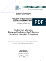 Study and Analysis of SaaS Business Model and Innovation Ecosystem
