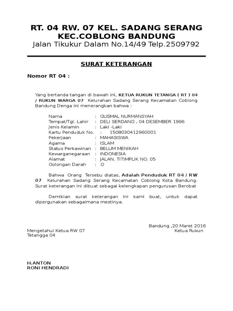 Surat Keterangan Domisili Rt