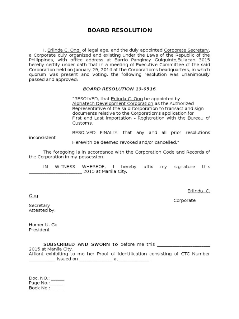 Board Resolution Sample | Government | Politics