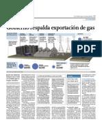 Gobierno respalda exportación de gas
