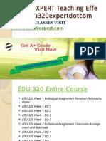 EDU 320 EXPERT Teaching Effectively Edu320expertdotcom