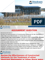 Review the Effectiveness of Constructed Wetlands for the Treatment of Either Municipal Wastewater or Urban Storm Water