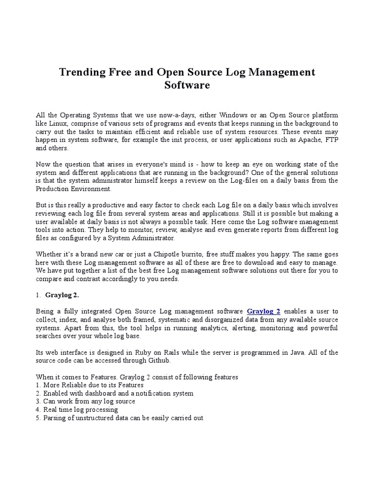Trending Free and Open Source Log Management Software   Linux