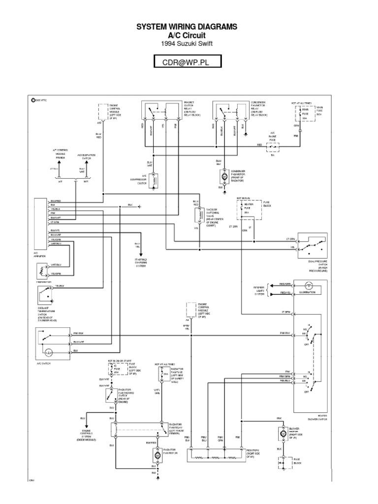 suzuki swift wiring diagrams 1994   land vehicles   technology & engineering  scribd