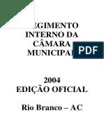 Regimento Interno - Camara Municipal de Rio Branco