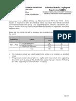 Individual Activity Log Report Requirements