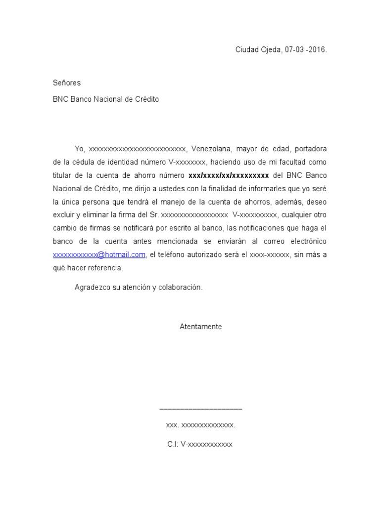 carta de exclusion de firma   banco