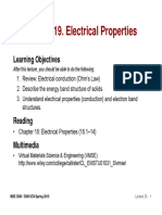 MSE 3300-Lecture Note 19-Chapter 18 Electrical Properties
