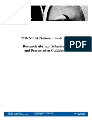 2016 NSCA Abstract Guidelines | Abstract (Summary) | Effect Size