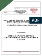 Method Statement for Plunge Column