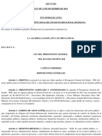 LEY N° 614 Presupuesto General del Estado Gestion 2015