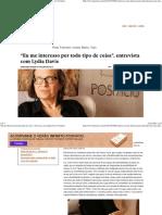 """""""Eu Me Interesso Por Todo Tipo de Coisa"""", Entrevista Com Lydia Davis _ Posfácio"""