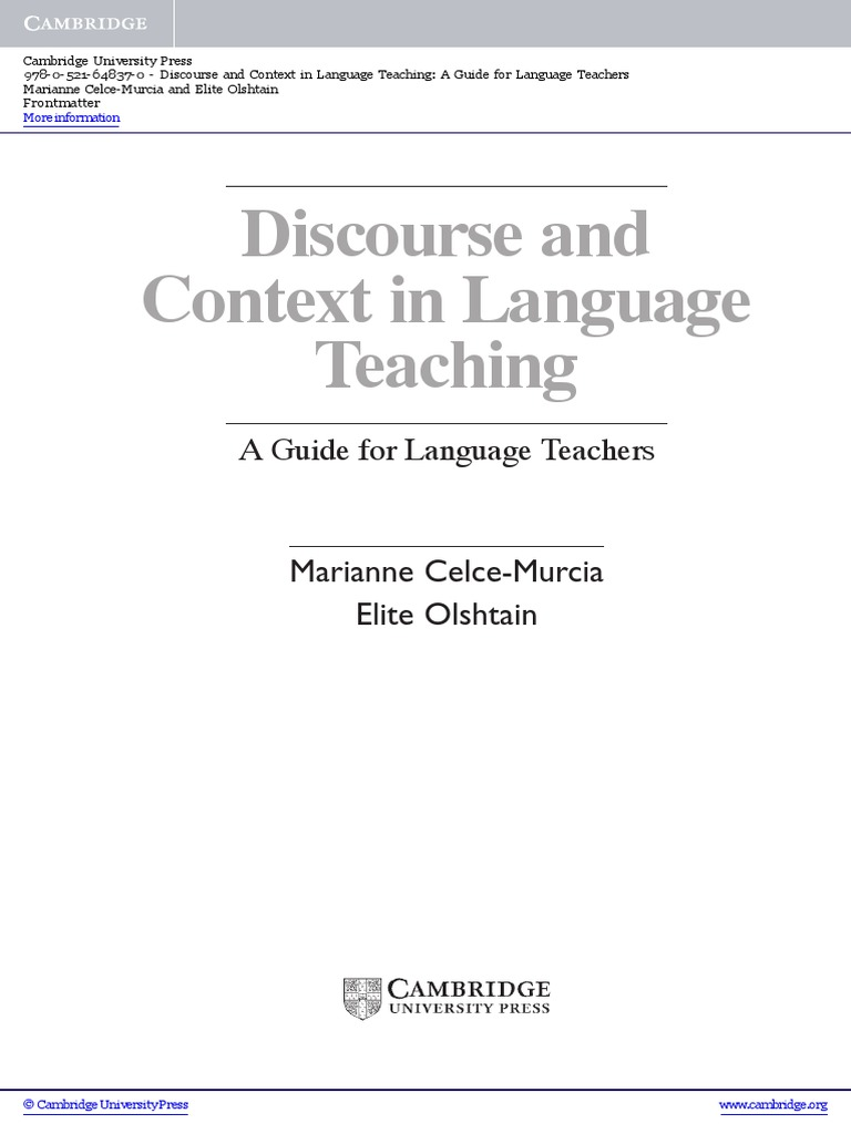 Discourse and context in language teaching a guide for language discourse and context in language teaching a guide for language teachers paperback frontmatter human communication cognition fandeluxe Image collections
