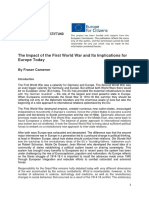 The Impact of the First World War and Implications for Europe Today