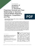 Teachers perception of children
