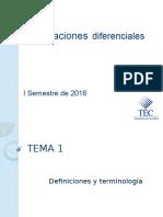 Ecuaciones Diferenciales  Tema 1