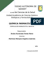 Formulación Farmacéutica Warfarina